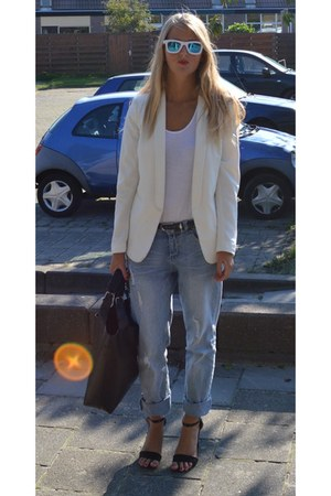 blue mirrored sunglasses - sky blue boyfriend jeans - cream blazer - white shirt