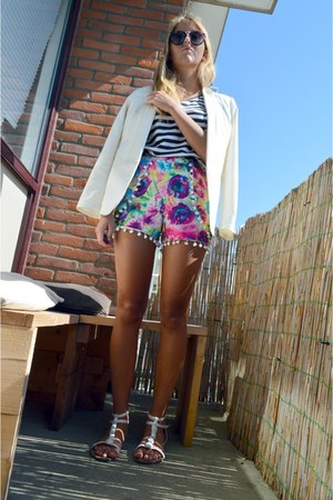 white primark sandals - off white blazer - bubble gum shorts - black striped top