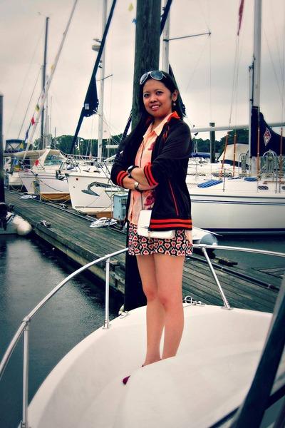 white BCBGeneration bag - carrot orange Reebok jacket - brick red jacket