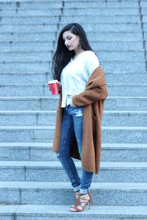 blue H&M jeans - tawny Rosegal cardigan - tawny sandals H&M heels