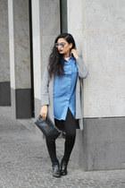 sky blue zaful blouse - silver wool zaful cardigan - black choker zaful necklace