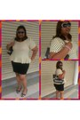 Beige-peplum-feeling-polka-today-dress-gray-totebag-guess-bag
