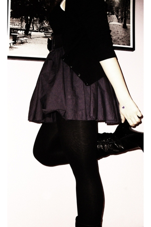 black H&M cardigan - black H&M top - purple Only skirt - black Only belt - black