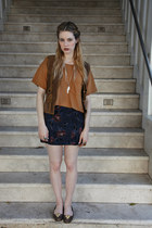 American Apparel top - vintage vest - vintage skirt
