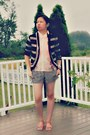 Dark-brown-striped-forever-21-shorts-brown-forever-21-cardigan