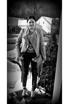 camel romwe coat - silver Charlotte Russe sweater - magenta Zara pumps