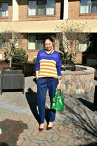 light orange Boohoo sweater - navy trousers asos pants - magenta Zara pumps