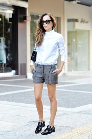 white Carven shirt - black Chanel bag - gray dvf shorts