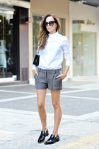 white Carven shirt - black Chanel bag - gray dvf shorts