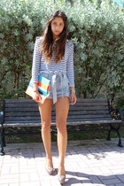 carrot orange DIY bag - blue Alexis shorts - heather gray BCBG heels