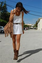 brown Jeffrey Campbell boots - white American Apparel dress - coral Urban Outfit