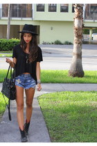 WCP shorts - Betsy Johnson boots - Forever 21 hat - Cole Haan bag - esly top