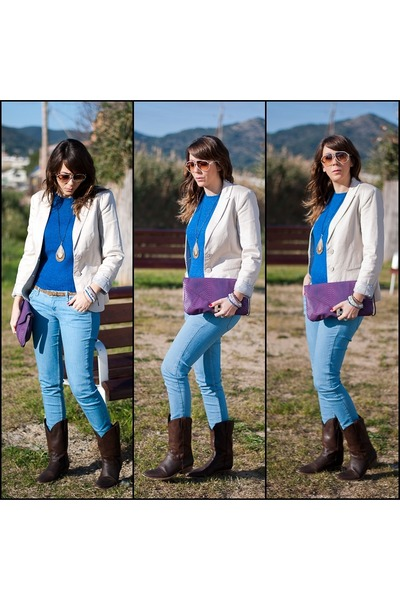 blue Primark sweater - dark brown Stradivarius boots - cream Stradivarius blazer