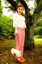 chanel bag - pants - blouse