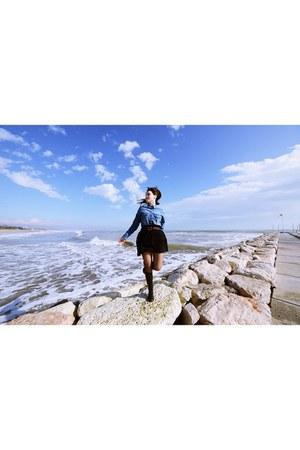rubber boots - Zara shirt - leather belt - H&M skirt - H&M stockings