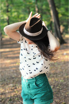 ivory silk Zara top - dark brown hat - green Topshop shorts