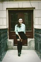 black rubber boots - aquamarine H&M shirt - black skirt - black stockings