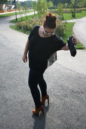 black c&a jeans - tawny depurtatro boots - black OASAP purse