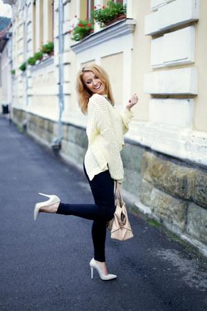 light yellow icecream yellow pull&bear sweater - nude studded Zara bag