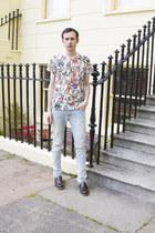 heather gray Zara jeans - brown River Island shoes - turquoise blue Zara t-shirt