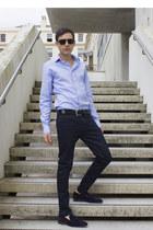 navy River Island jeans - aquamarine Zara shirt - navy Zara flats