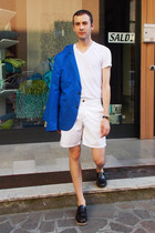 blue H&M blazer - white Diesel shorts - white DKNY t-shirt - black Orient watch