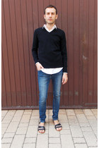 black Burton sweater - navy River Island jeans - white Dolce & Gabbana shirt