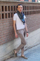 navy Zara scarf - white DKNY t-shirt - camel Topman pants - white GF Ferre watch
