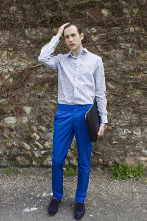 blue H&amp;M pants - navy Zara shoes - sky blue Jeff Banks shirt - black Zara bag