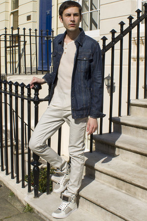 beige Primark jeans - navy Legend&Soul jacket - beige Bershka t-shirt