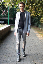 black DKNY t-shirt - heather gray River Island jeans - silver Voi Jeans shirt