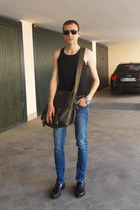 dark brown Charro bag - navy River Island jeans - black armani sunglasses