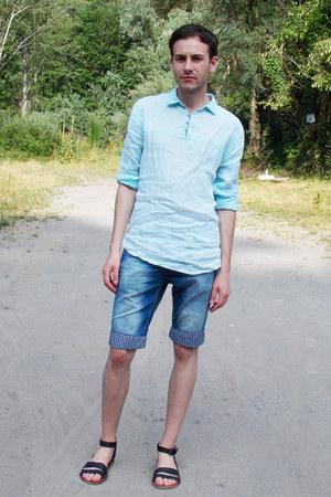 light blue Zara shirt - navy SAMURAI&SOUL shorts - black Zara sandals