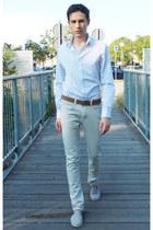 white Jeff Banks shirt - tawny Michael Kors belt - periwinkle Fenchurch flats