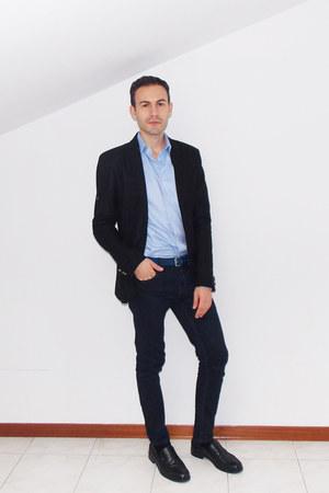 navy Zara jeans - black Zara blazer - aquamarine Zara shirt - navy H&M belt