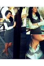 charcoal gray houndstooth H&M dress - aquamarine mullbery silk Zara shirt