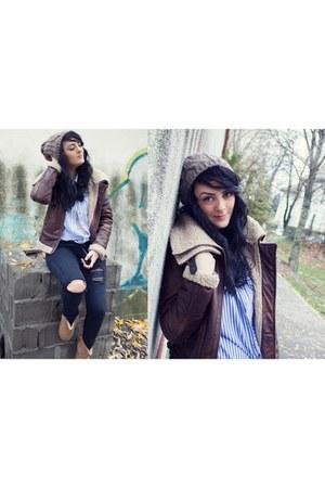 aviator Bershka jacket - Ugg boots - Stradivarius jeans - crochet H&M hat