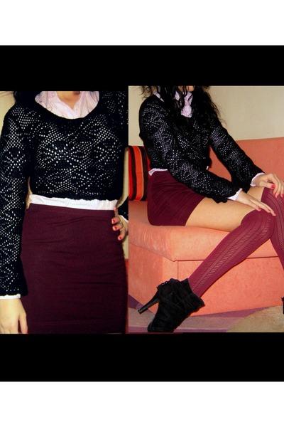 brick red vintage knit vintage blouse - light pink stripes striped Gap shirt