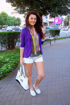 white denim Denim Shorts shorts - purple cotton Suite Blanco blazer
