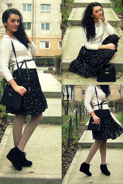 black pattern Mango dress - off white knit H&M sweater