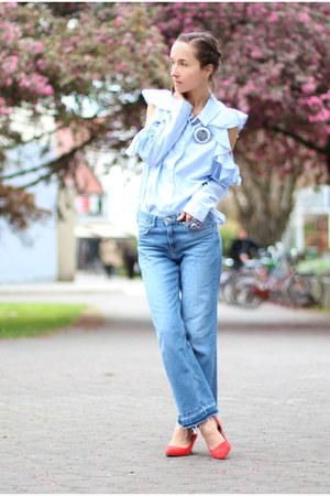 sky blue asos shirt - turquoise blue H&M jeans