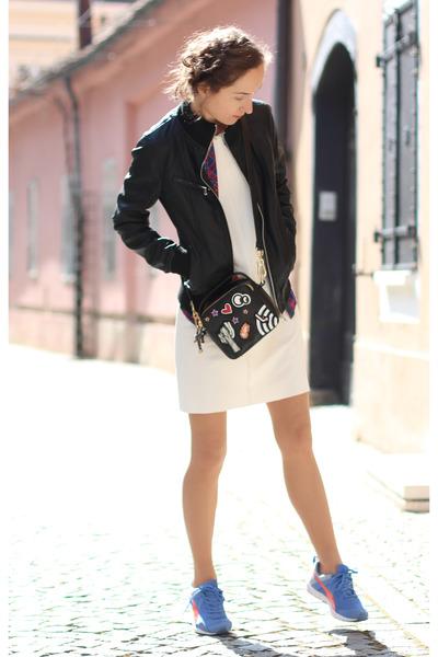 white Mango dress - black Zara bag - violet Puma sneakers