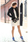 White-mango-dress-black-zara-bag-violet-puma-sneakers