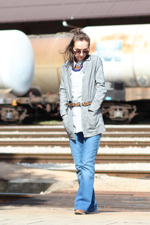 burnt orange asos belt - blue sOliver jeans - white H&M shirt