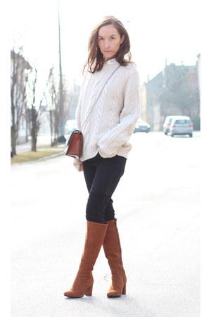 brown Zara bag - white H&M sweater