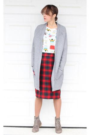 DIY skirt - white Zara top - StyleWe cardigan