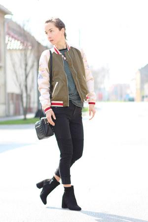olive green H&M jacket - black H&M jeans - black Zara top