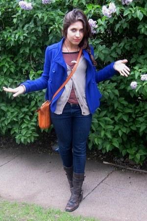 blue Forever 21 jacket - dark brown Datelli boots - navy Gap jeans