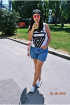 H&M top - Aliexpress hat - Forever 21 bag - denim vintage shorts