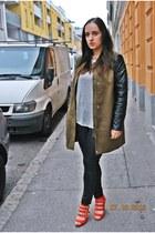 H&M coat - leather Forever 21 leggings - diy H&M shirt - clockhouse bag